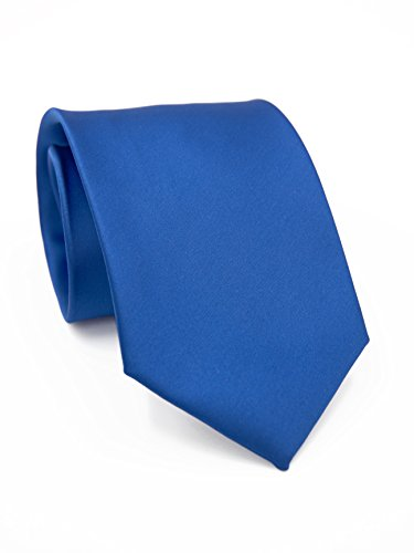 PUCCINI Sicherheitskrawatte, Clipkrawatte in verschiedenen Farben, vorgebunden mit Clip, 8,5 cm, Mikrofaser, Handarbeit (Blau)