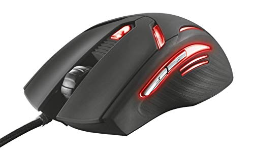 Trust Gaming GXT 152 - Ratón para Gaming (iluminación LED, 6 Botones, 2400 dpi, PC/Mac), Color Negro y Rojo