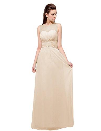 Dresstells Robe de demoiselle d'honneur Robe de cérémonie forme empire en mousseline longueur ras du sol Champagne