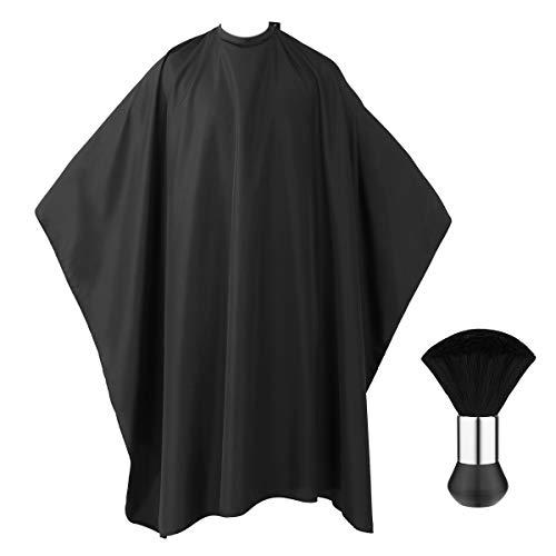 Frcolor barber cape salon mantella parrucchiere grembiule nero lungo abito da taglio dei capelli, collo duster pennello incluse–139,7x 160cm