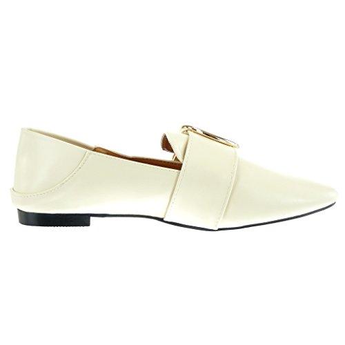 Angkorly - damen Schuhe Mokassin - Slip-On - Schleife - golden Blockabsatz 1 CM Beige