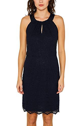 Strukturierte Baumwolle Kleid (ESPRIT Collection Damen 049EO1E027 Kleid, Blau (Navy 400), Herstellergröße: 44)