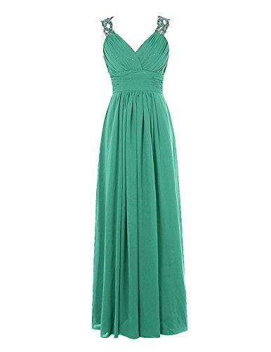 Find Dress Charmant Robe de Mariée Grande Taille Robe Demoiselle d'Honneur Femme Princesse/Fête Noel Femme Plissé Robe de Cocktail Soirée Dos Nu en Mousseline Vert