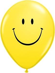 Qualatex 39803 Smile Face - Globo Redondo de látex, Color Negro y Amarillo, 28 cm