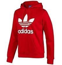 Adidas Originals Trefoil Fleece Hoodie Sweatshirt Red White Size XL