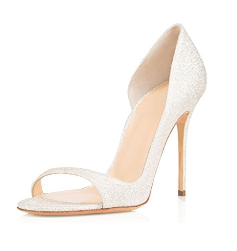 Talon Femmes EDEFS Aiguille 120mm Haut Sandales Chaussures Argent Toe Heels Stiletto Peep Escarpins High xnRwgARUH