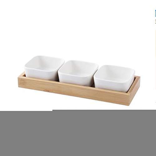 CJUERLS Geschirr Keramik-Snack-Teller, Dessertteller, Quadratische Ramekin-Schalen, Trockenfrüchte-Tablett, Obstteller, Mit Holzpaletten 3 Ramekin
