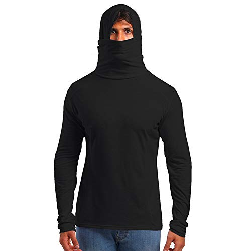 Xmiral Herren Hoodie T-Shirt mit Maske Herbst Winter langärmeliges Top(XL,Schwarz) -