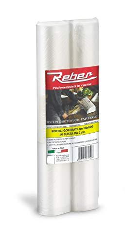 Reber 6725a sacchetti goffrati per sottovuoto, 30x600 cm, 105 micron, anti-uv, 2 rotoli, trasparente