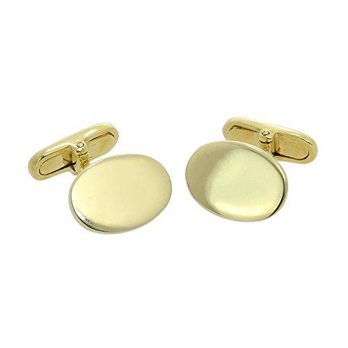 9K (375) Gold Gravierbare Oval Manschettenknöpfe mit Klassischem Knebelverschluss