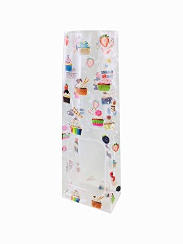 Sacchetti buste per alimenti biscotti e caramelle 100+60x300mm (50pz.)'CUPCAKE/PASTICCINI' (natale, feste)