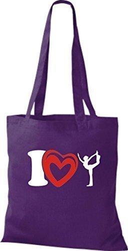 T-shirt Di Stoffa Di Cotone T-shirt Amo La Ginnastica Sportiva Di Yogo Yoga Color Rosa Porpora