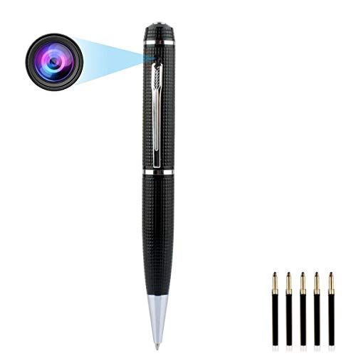 XWZG Mini versteckte Kamera. Spy Pen Kamera HD 1080P Nanny Cam Home Convert Sicherheitskamera Roller Kugelschreiber, Silver (Sicherheit Stempel-roller)