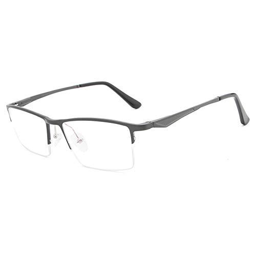 DING-GLASSES Gläser Brillengestell Aluminium Magnesium Halbrahmen Ultra Light Blue Flat Mirror Brillengestell Fashion Hipster Men (Color : Gun)