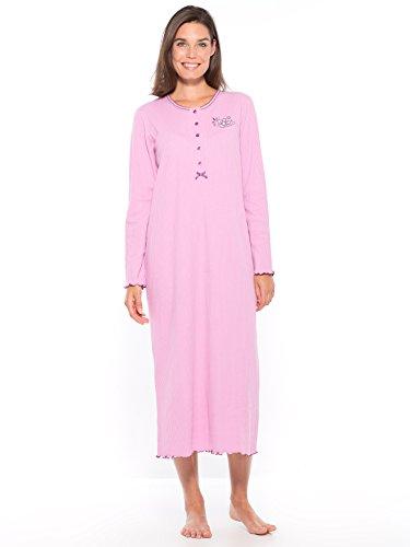 Lingerelle - Chemise de nuit longue, manches longues, femme Lilas