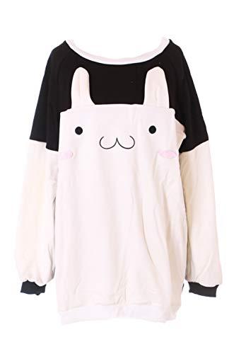 TS-184 Hase Bunny Rabbit schwarz weiß Gesicht Ohren Pastel Goth Lolita Pullover Sweatshirt Harajuku Kawaii