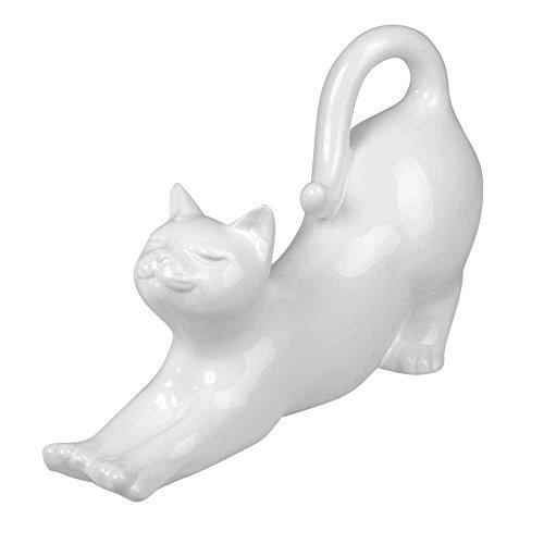 Dekofigur Katze liegend L. 35cm H. 22cm weiß glasiert Keramik Formano (Figur Keramik Glasiert Katze)