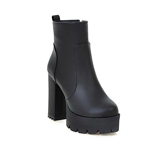 AgooLar Damen Hoher Absatz Niedrig Spitze Reißverschluss Stiefel Schwarz