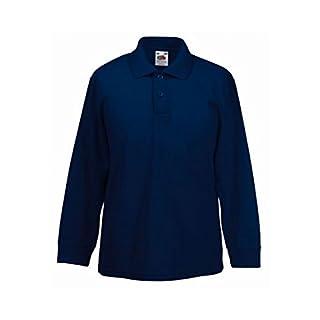 Absab Ltd 3 Pack FOTL Child Casual School Wear Uniform Kids Long Sleeve Plain Polo Shirt Deep Navy 7-8 Years