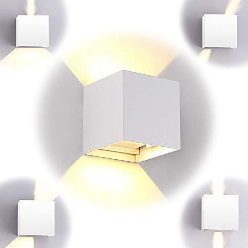 10W aplique de pared impermeable IP65, lámpara de pared ajustable, apliques pared interior blanca cálida 3000K apto para dormitorio y sala de estar. [Clase de energía A++] (blanco)