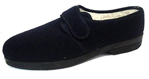 DAVEMA ciabatte pantofole invernali da uomo con velcro mod. 57 blu con strappo (44)