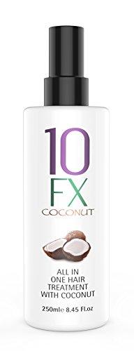 10FX Kokos-Hitzeschutzspray - Behandlung für trockenes Haar - Anti-Frizz, UV-Schutz, verleiht Volumen - 250 ml