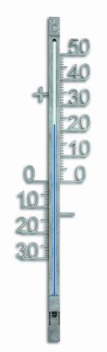 TFA Dostmann Analoges Außenthermometer, aus Metall, wetterfest, freistehende Gradzahlen