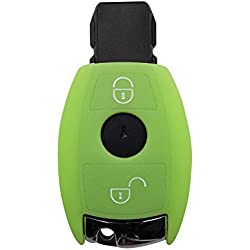 Coque de clé de voiture CK+ 2 boutons en silicone pour Mercedes Classe A, B, C, E, G, V, S ; AMG ; CLA ; CLS vert