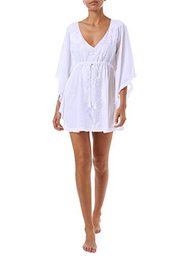 PANAX Damen Baumwolle Strandkleid mit Besticktem Blumenmuster Strandponcho mit ohne Quasten Weiß