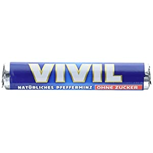 Vivil Natürliches Pfefferminz ohne Zucker Rollen Blau, 30er Pack (30 x 29 g)