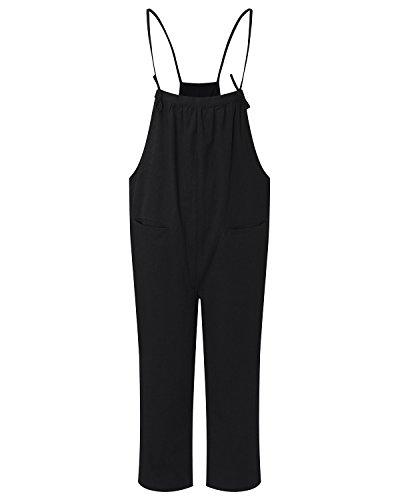 StyleDome Damen Ärmellose Lange Strappy Taschen Overall Hose Denim Pants Jumpsuits Schwarz677162