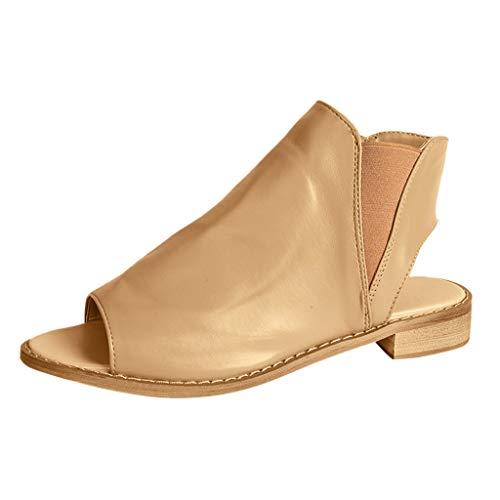Yvelands Damen Rom Platz Ferse Slip-On Peep Toe Schuhe beiläufige Breathable Strand Sandalen(CN-43,Khaki)