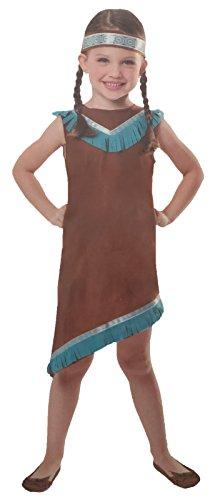 Brandsseller Mädchen Kostüm Verkleidung Fasching Karneval Party - Indianerin M (7-10 Jahre)