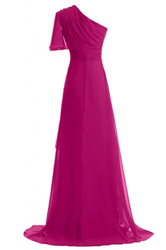 Sunvary 2014 Summer una linea Fashion Evening Dresses One-Shoudler in Chiffon Prom abiti lunghi Fuchsia