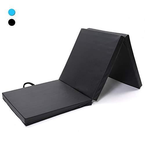 ISE 180 * 60cm tragbar Weichbodenmatte 3-Fach Faltbare Fitnessmatte und Turnmatte Gymnastikmatte für zu Hause,PVC Rutschfeste Sportmatte Spielmatte für Kinder & Erwachsenen (Schwarz)