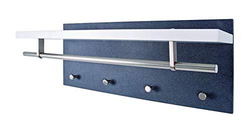 Haku Möbel Wandgarderobe- MDF weiß lackiert Dekor Granit- mit Hutablage 75 cm
