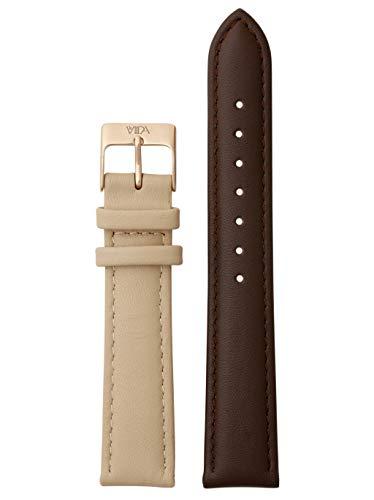 laVIIDA Uhrband LB-SVI2023R Ersatzband Uhrenarmband Leder 18 mm Braun-Beige-Rosé