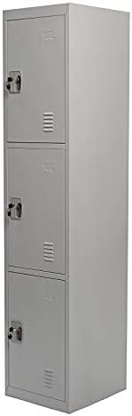 Galaxy Design 3 Door Metal Locker, Grey - 30(L) x 35(W) x 110(H) CM, GDF-3T
