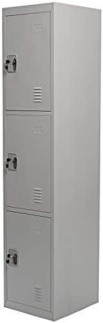 Galaxy Design 3 Door Metal Locker, Grey - 30(L) x 35(W) x 110(H) CM