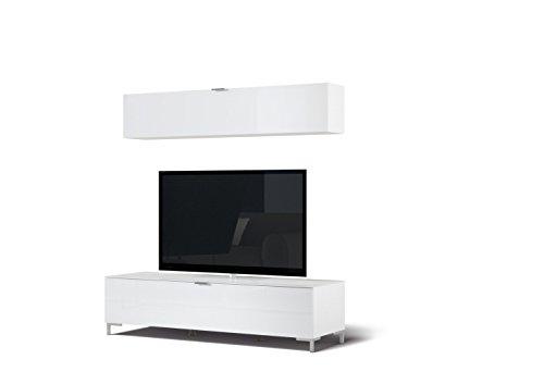 CS Schmalmöbel 45.012.505/041 TV-Board Cleo Typ 11 + Hängeregal, 163 x 50 x 175 cm, weiß / weißglas
