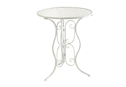 Metalltisch Gartentisch Beistelltisch Rundtisch Deko Tisch Metall Cream  Antik