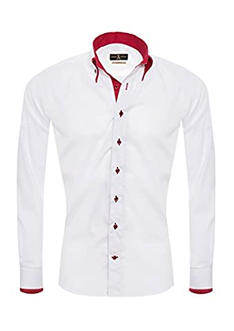 Giorgio Capone Herrenhemd, weiß mit roten Akzenten, Langarm, Button-Down-Kragen, Slim & Regular Fit (XXL Reg mit (Easy Care Leinenhemd)