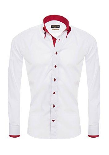 Giorgio Capone Premium Design Herrenhemd, weiß mit roten Akzenten, Langarm, Button-Down-Kragen, Slim & Regular Fit (L Slim) -