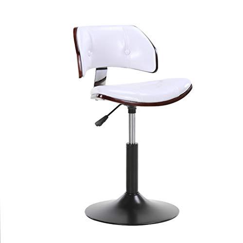 Barhocker Stuhl Gepolsterte Fußstütze mit Weißer PU-Rückenlehne Drehbarer Gaslift Höhenverstellbar für Restaurant Pub   Café Barhocker Metallsockel max. Laden Sie 200 kg