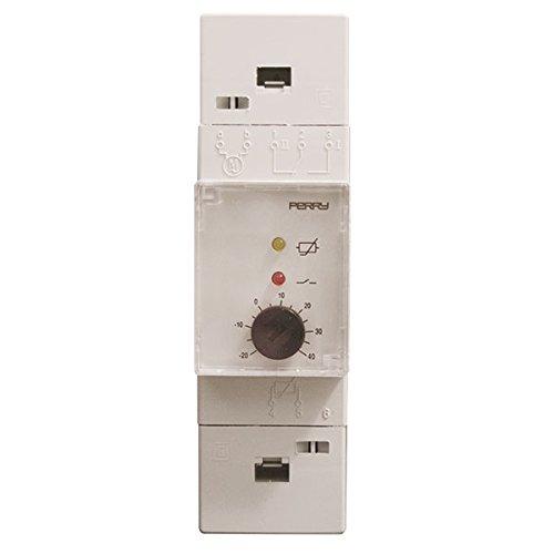 Thermostat industrielle électronique pour tableaux électriques modulaire 2 DIN 35 mm domaine réglage + 40 °C/+ 100 °C entrée Sonde à Distance longueur câble sonde lointaine Max 400 m 1 niveau température LED Indication État relais lED avec indication Sonde Guasta