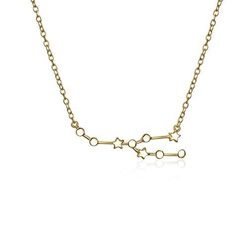 Stier sternbild Sterne Astrologie Horoskop Sternzeichen Halskette für Frauen 14kt vergoldet Anhänger 16 In