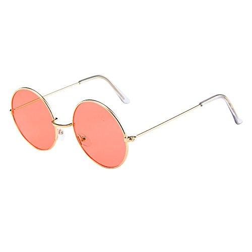 Lazzboy Frauen Männer Vintage Retro Brille Unisex Fashion Circle Frame Sonnenbrille Eyewear Klassische Lennon Runde Polarisierte Mit Schutz Paar Hippie Stil Kreis Farbige Gläser(C)