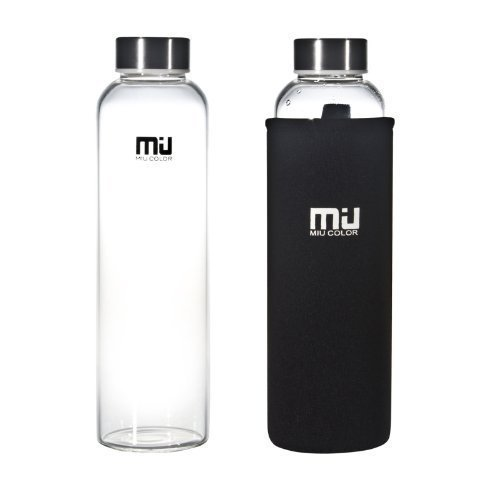 MIU COLOR – Botella de cristal, muy elegante, 550 ml, con funda de n