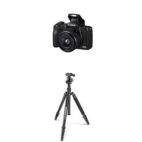 Canon EOS M50 schwarz EF-M 15-45 Kit + Manfrotto Element Traveller Aluminium Kit (groß, verwandelbar in ein Einbeinstativ, inkl. Tragetasche und Spikes, geeignet für Arca Swiss) schwarz -
