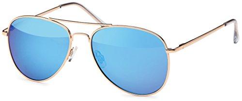 Pilotenbrille Sonnenbrille 70er Jahre Herren & Damen Sunglasses Fliegerbrille verspiegelt (Gold/Blue)